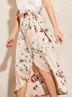 Satin Floral Wrap Midi Skirt