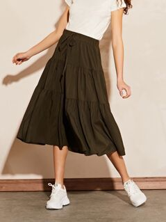 Tiered Tie Front Midi Skirt