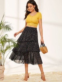 Ditsy Floral Print Layered Ruffle Skirt
