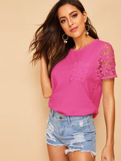 Neon Pink Lace Insert Top
