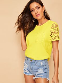 Neon Yellow Lace Insert Top