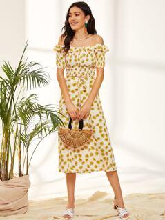 Daisy Ruffle Trim Bardot Top & Wrap Split Skirt Set