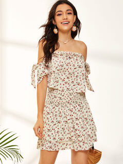 Frill Trim Knot Bardot Top & Shirred Waist Layered Skirt Set