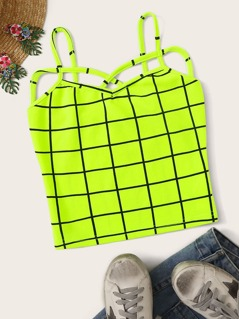 Neon Lime Strappy Neck Grid Cami Top