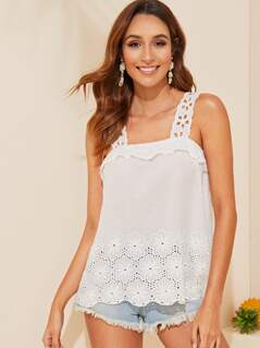 Guipure Lace Detail Tank Top