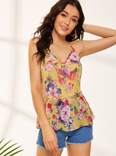 Flower Print Peplum Cami Top