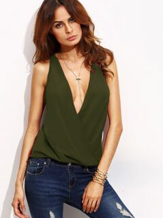 Deep V Neck Wrap Solid Top