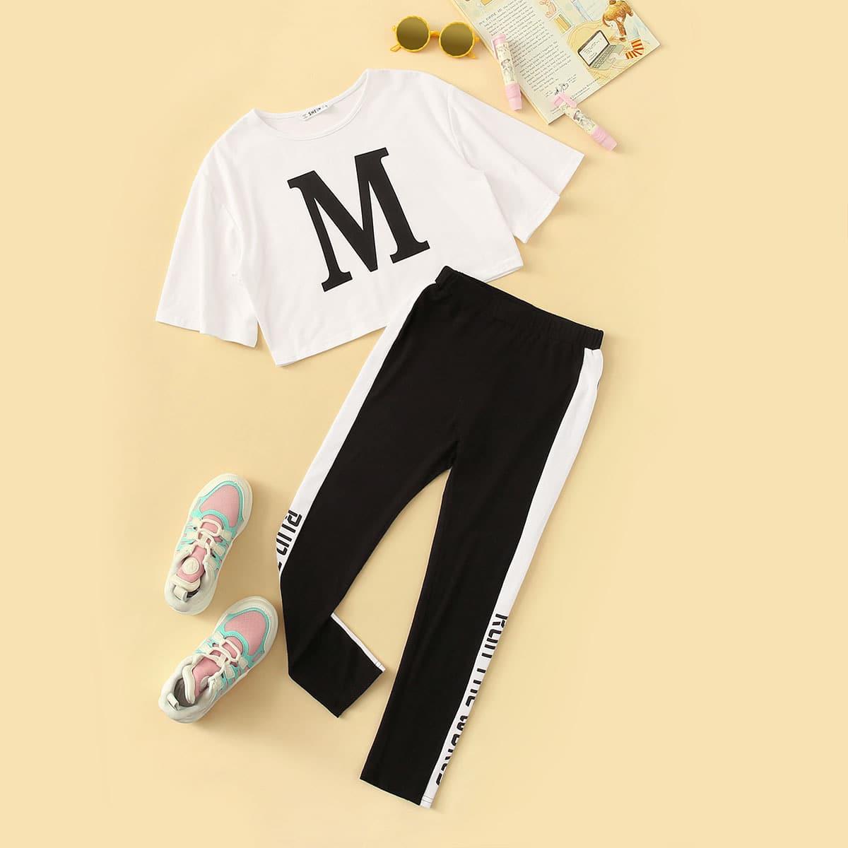 Топ с текстовым принтом и контрастные брюки для девочек от SHEIN