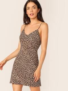 V-Neck A-Line Sleeveless Leopard Slip Dress