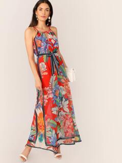 Keyhole Neck Tropical Floral Waist Tie Maxi Dress