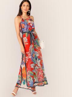 Keyhole Neck Tropical Floral Waist Tie Maxi Dress