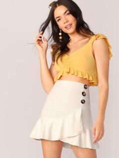 Button Detail Flounce Hem Mini Skirt