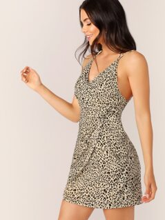 Ruched Twist Sleeveless Leopard Mini Dress