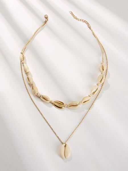 Shell Charm Double Layered Chain Pendant Necklace 1pc