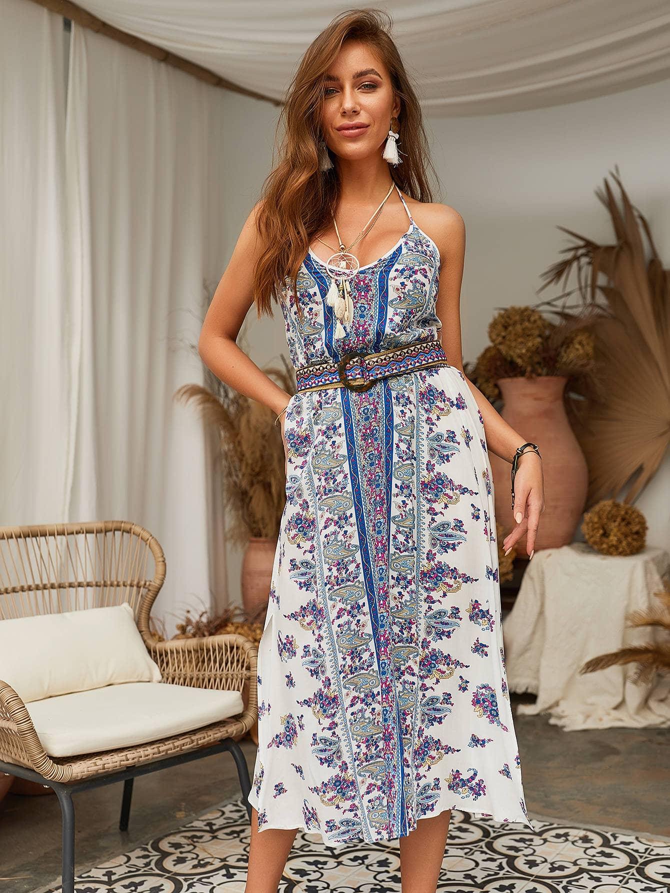 Фото - Платье-халтер с разрезом и модным принтом от SheIn цвет многоцветный