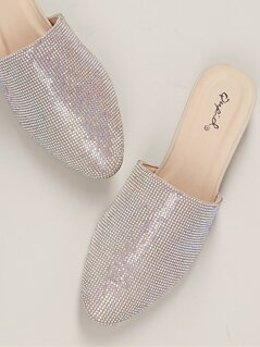 Almond Toe Rhinestone Crystal Low Heel Slide Mules