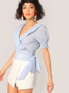 Shirred Panel Ruffle Trim Tie Side Wrap Top