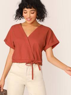 Rolled Cuff Drawstring Hem Wrap Top