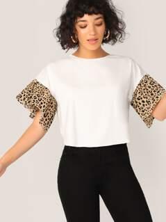 Leopard Print Ruffle Cuff Curved Hem Top