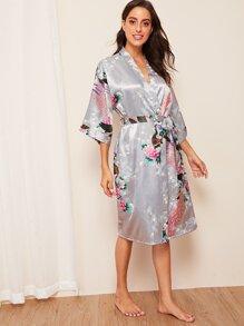 Peacock | Floral | Satin | Print | Robe | Belt