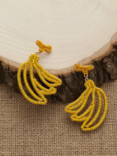 Beaded Banana Dangling Stud Back Earrings
