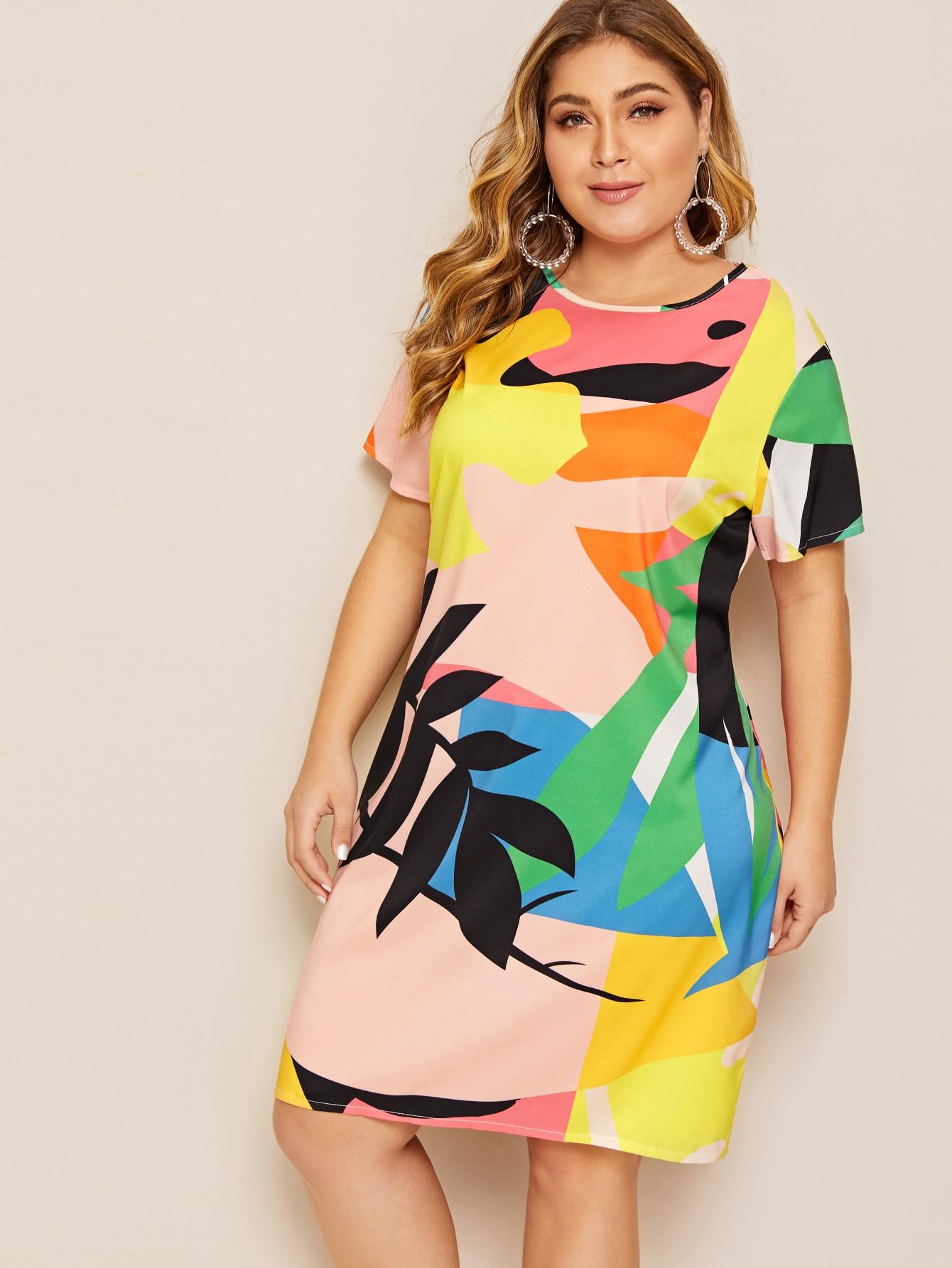 Платье размера плюс с лиственным принтом