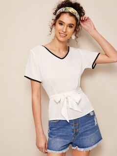 Contrast Binding Self Belted Top