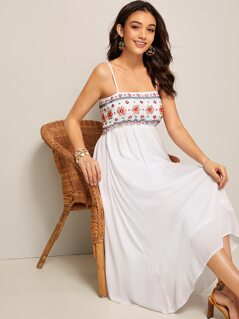Aztec Embroidered Detail Shirred Back Cami Dress