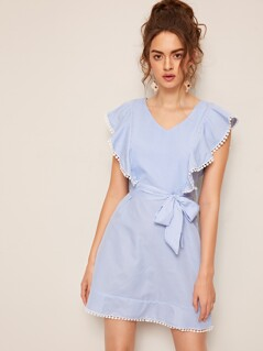 Lace Trim Ruffle Armhole Self Belted Striped Dress