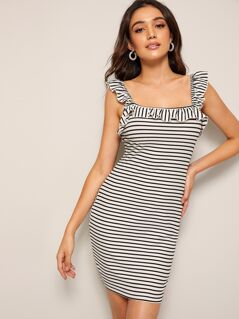 Ruffle Trim Rib-knit Striped Bodycon Dress
