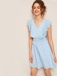 Ruffle Trim Shirred Waist Solid Dress