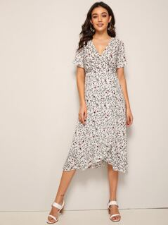 Ditsy Floral Print Tie Back Wrap Dress