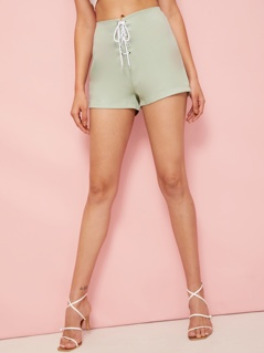 Lace-up Waist Zip Back Shorts