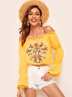 Embroidered Floral Frill Trim Bardot Top