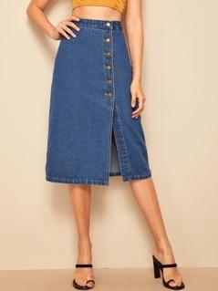 Button Fly Slit Front Denim Skirt