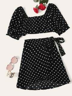 Polka Dot Crop Top and Tie Waist Skirt Set