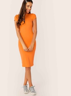 Neon Orange Mock-Neck Form Fitted Pencil Dress