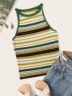 Colorful Striped Ringer Tank Top
