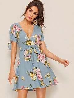 Floral Print Surplice Neck Belted Dress
