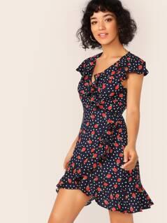 Ruffle Trim Strawberry and Polka Dot Wrap Dress