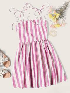 Tie Strap Striped Dress