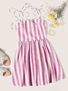 Tie Strap Striped Dress