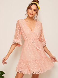 Plunging Guipure Lace Trim Polka Dot Flippy Dress