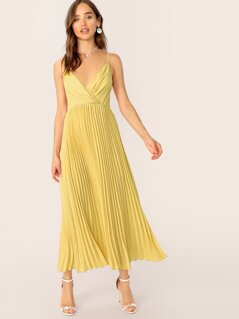 Surplice Neck Pleated Hem Solid Slip Dress