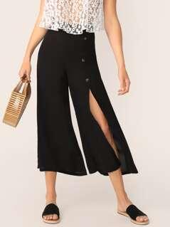 Buttoned High Slit Wide Leg Pants