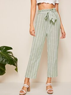 Paperbag Waist Striped Straight Leg Pants