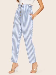 Paperbag Waist Button Front Striped Pants