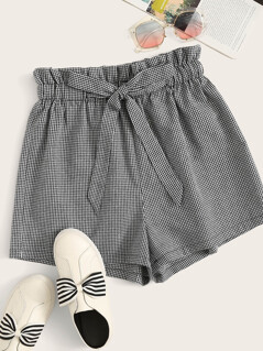Paperbag Waist Gingham Shorts