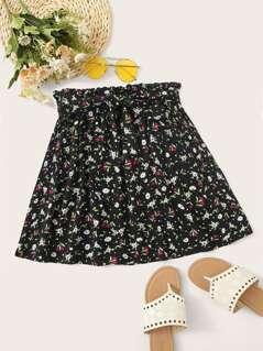Paperbag Waist Ditsy Floral Print Skater Skirt