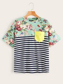 Pocket Patch Floral & Striped Tee